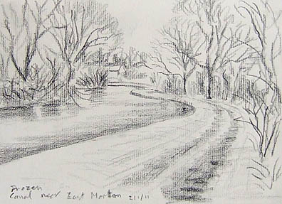 Frozen canal near East Marton. Sketch Keith Melling