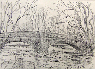 The bridge over the Skirfare at Arncliffe, dusk. Yorkshire Dales. Sketch: Keith Melling