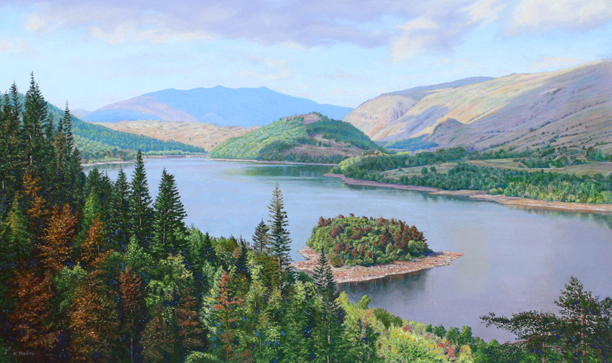 Thirlmere and Blencathra from above Launchy Gill - Lake District. Painting: Keith Melling