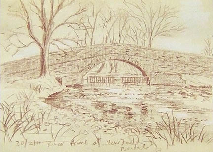 Another bridge...this over the River Aire near Newfield Hall, Malhamdale. Sketch: keith Melling