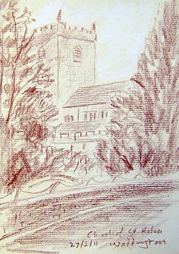 The church of Saint Helen's Waddington, Lancashire. Sketch: Keith Melling