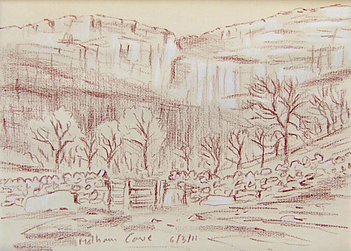Malham Cove, Yorkshire Dales. Sketch; Keith Melling