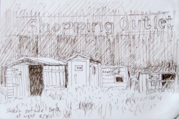 Sheds outside B&Q at night. Sketch: Keith Melling