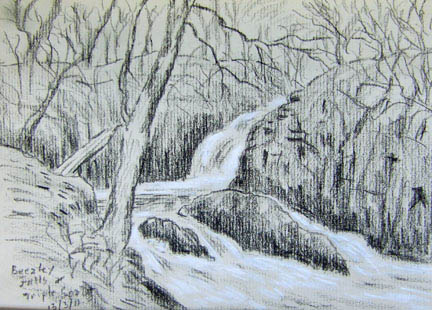 Beezley Falls and Triple Spout, Ingleton. Sketch: Keith Melling