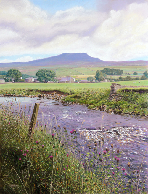 Penyghent and River Ribble at Horton-in-Ribblesdale, Yorkshire Dales. Painting: Keith Melling