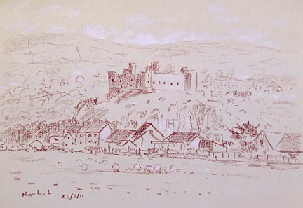 Harlech Castle, Wales. Sketch:Keith Melling