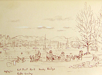 By Windermere at Fell Foot Park, Newby Bridge, Cumbria. Sketch: Keith Melling