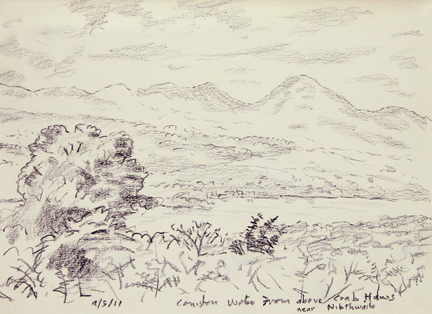 Across Coniston Water from the track above High Nibthwaite. Sketch: Keith Melling