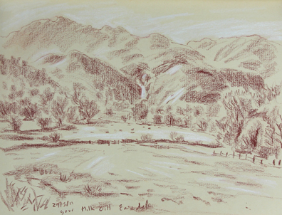Towards Sour Milk Gill waterfalls in Easegill near Grasmere, Cumbria. Sketch: Keith Melling