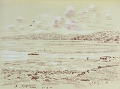 Looking over Silverdale Sands to Grange...tide just gone out. Sketch: Keith Melling