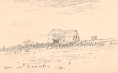 Barn near High Lane, Grassington. Yorkshire Dales. Sketch: Keith Melling
