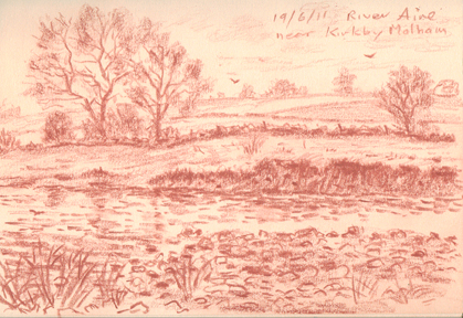River Aire near Kirkby Malham. Sketch: Keith Melling