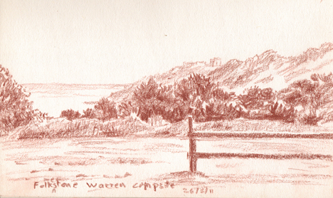 View from Folkestone Warren campsite. Sketch: Keith Melling