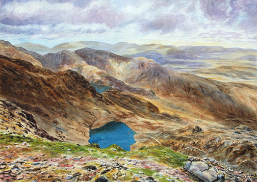 Summit view from Coniston Old Man. Painting: Keith Melling