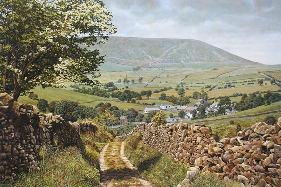 Pendle in May. Painting- Keith Melling