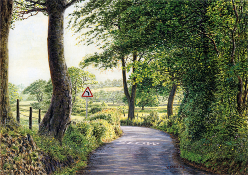 Slow Lane (Blacko Bar Road) lancashire. Painting by Keith Melling