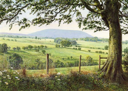 Pendle from Todber, Lancashire. Painting by Keith Melling