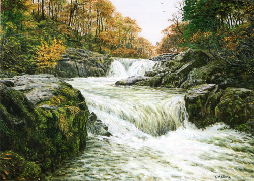 Skelwith Force - Lake District. Painting Keith Melling