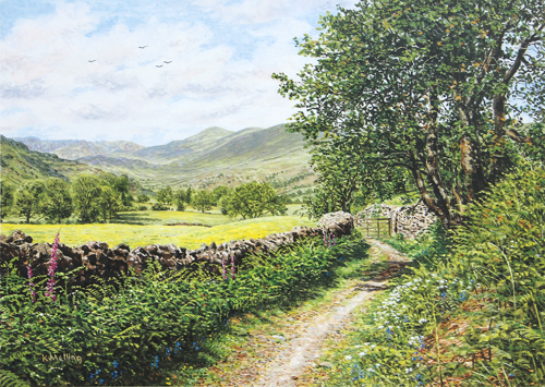 Kentmere Valley - Lake District. Painting : Keith Melling
