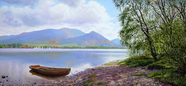 Across Bassenthwaite Lake to Skiddaw - Lake District. Painting: Keith Melling