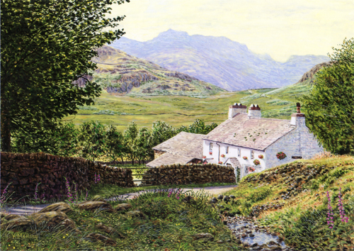 Bleatarn House and Bowfell, Lake District. Painting Keith Melling