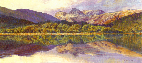 Reflections Langdale, Lake District. Painting Keith Melling