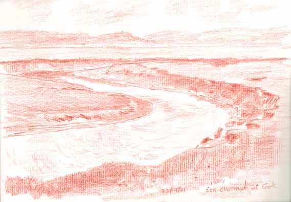 The Eea channel on Sandgate Marsh, Cark-in-Cartmel, Cumbria. Sketch: Keith Melling