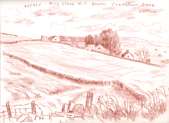 Ringstone Hill from Crawshaw Lane, Catlow, near Nelson Lancashire. Sketch: Keith Melling