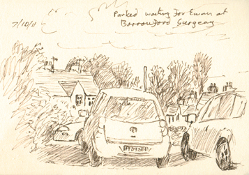 Waiting in the car, Barrowford, Nelson, Lancashire. Sketch:Keith Melling