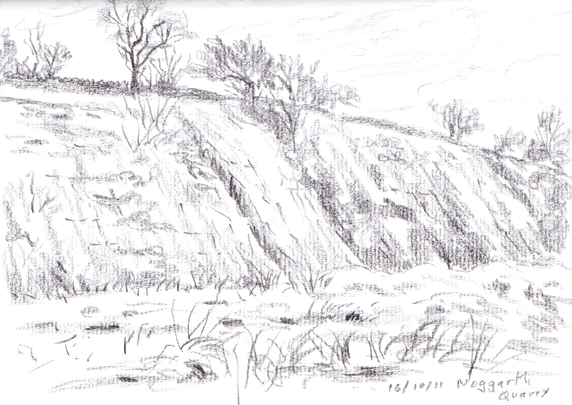 Noggarth Quarry near Fence, Lancashire. Sketch: Keith Melling