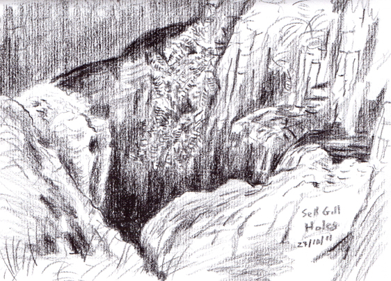 Sell Gill Holes on Harbour Scar Lane, near Horton-in-Ribblesdale, Yorkshire Dales. Sketch: Keith Melling