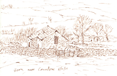 Barn above Conistone, Wharfedale, Yorkshire Dales. Sketch: Keith Melling