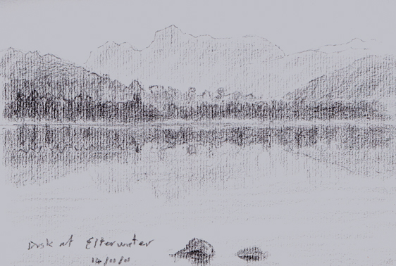 Dusk at Elterwater, reflections of Langdale Pikes, Lakeland. Sketch: Keith Melling