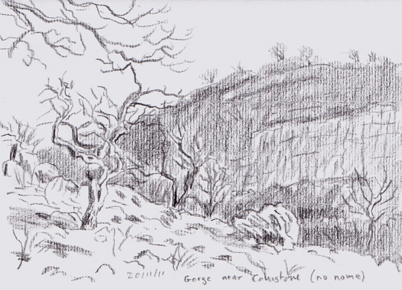 An unnamed limestone gorge near Conistone, Yorkshire Dales. Sketch: Keith Melling