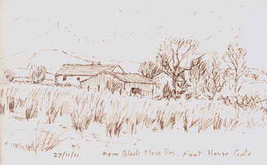 Foot House Gate by Black Moss Res. Barley, Lancashire. Sketch: Keith Melling