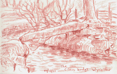 The ancient Clam Bridge, Wycoller, Lancashire. Thought to be more than 1000 years old. Sketch: Keith Melling