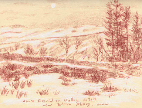 Above Desolation Valley near Bolton Abbey, Yorkshire Dales. Snow and a pale afternoon moon. Sketch: Keith Melling