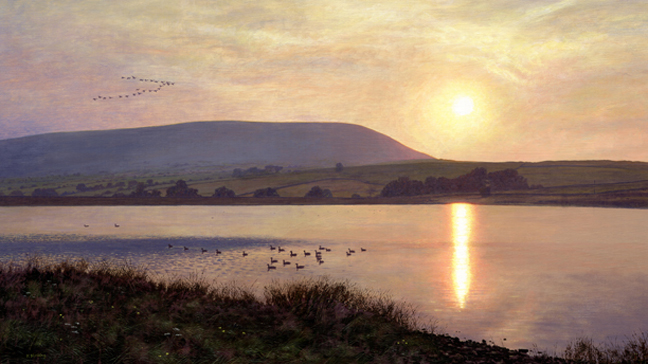 Before Sunset, Black Moss and Pendle Hill - Lancashire. Painting: Keith Melling
