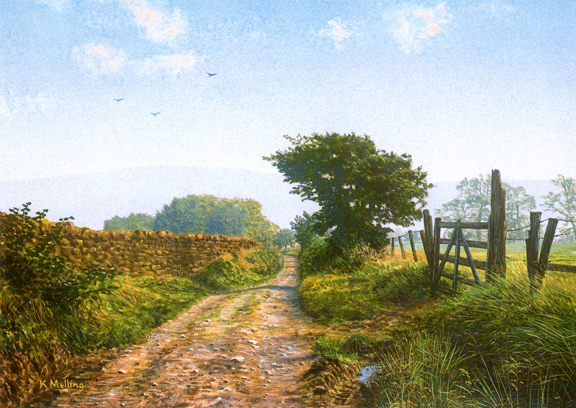 Sandy Hall Lane - Lancashire. Painting: keith Melling