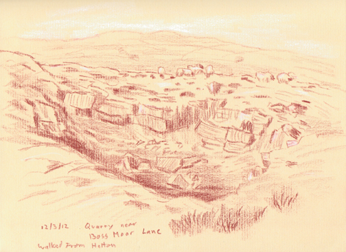 Disused quarry, reclaimed by nature, on Boss Moor near Hetton, North Yorkshire. Sketch: Keith Melling