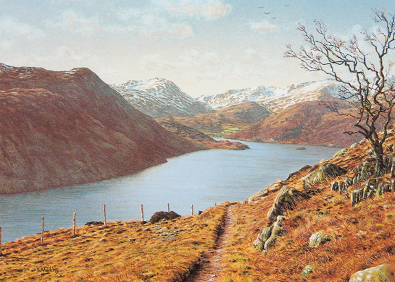 Ullswater from Gowbarrow Fell  -  Lake District. Painting by Keith Melling