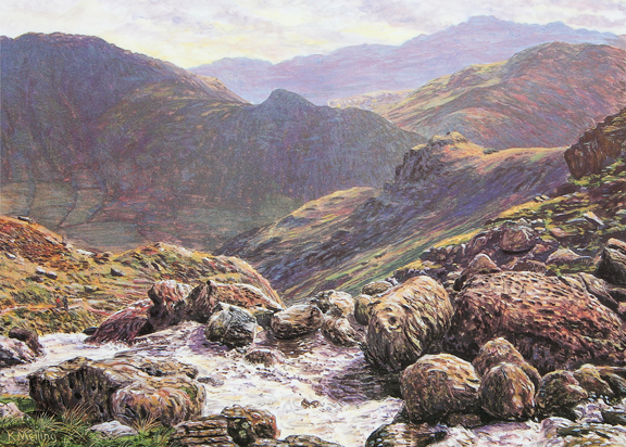 Stickle Ghyll, Great Langdale  -  Lake District. Painting by Keith Melling