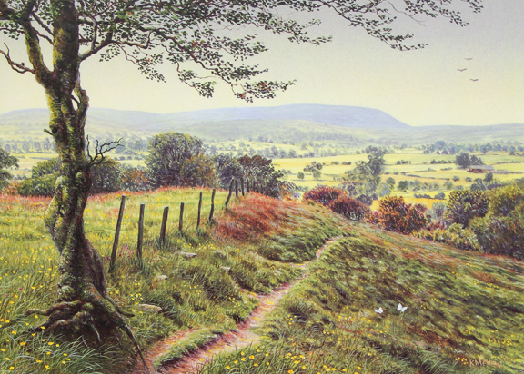 Pendle Hill from near Red Lane, Colne. Painting: Keith Melling