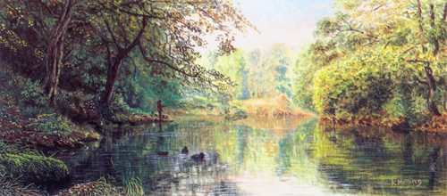 Morning Light on the River Wharfe. Painting : Keith Melling