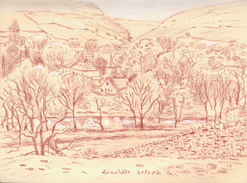 Arncliffe from Byre Banks Wood, Littondale, Yorkshire Dales. Sketch: Keith Melling