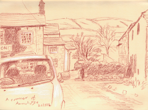 A corner of Arncliffe from where I happened to be parked. Littondale, Yorkshire Dales. Sketch: Keith Melling