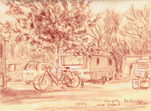 Campsite at Redbridge near Oxford. Sketch: Keith Melling