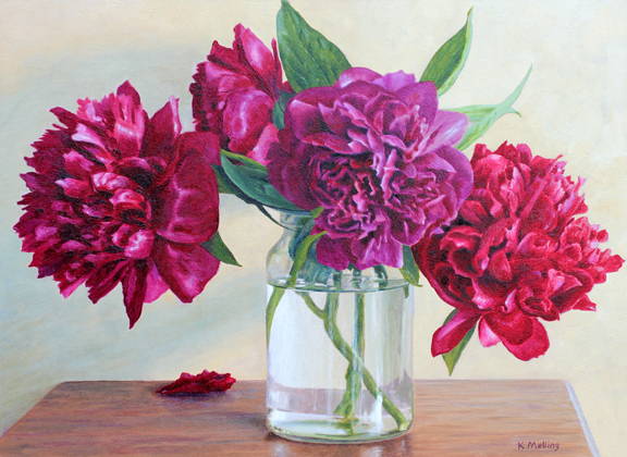 Still Life with Peonies in a Glass Jar. Painting by Keith Melling