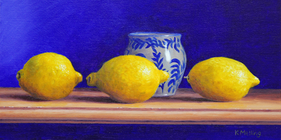 Still Life with Three Lemmons and  Wetheriggs Pottery Cup. Painting by Keith Melling