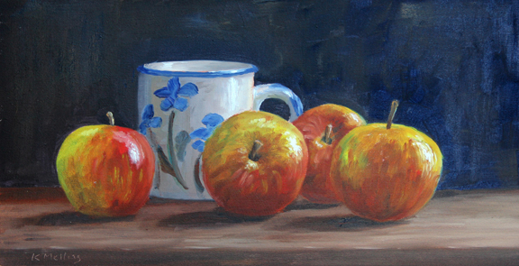 Still Life with Four Apples and Mug. Painting by Keith Melling